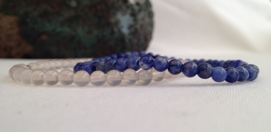 Grey Agate and Sodalite stacking bracelets