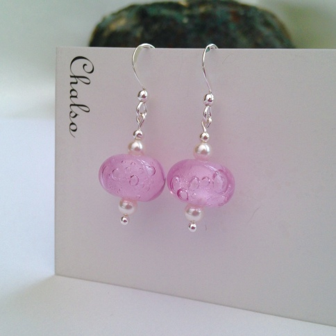 Pink bubble lampwork earrings with white Swarovski pearls and Sterling silver.