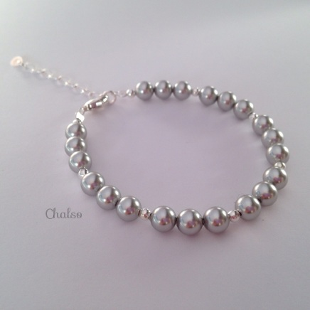 Sterling silver and grey Swarovski pearl bracelet