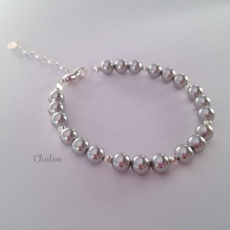 Sterling silver and grey Swarovski pearl bracelet