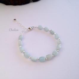 Aquamarine nugget bracelet with Sterling silver