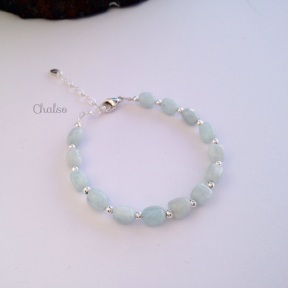Aquamarine nugget bracelet with Sterling silver