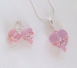 Cherry blossom lampwork hearts jewellery set.