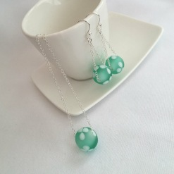Green and white lampwork jewellery with Sterling silver chain.
