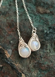 Moonstone threader earrings with Sterling silver.