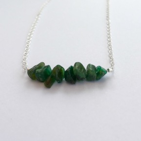 Raw Emerald necklace for May birthdays