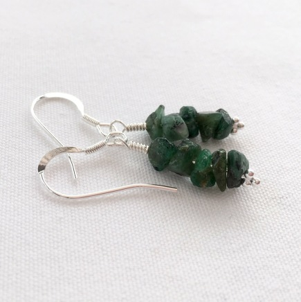 Raw Emerald earrings with Sterling silver