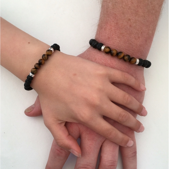 Lava and Tigers eye couples bracelets or father and son gift