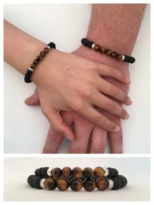 Lava, Tigers eye and Sterling silver Father and Son bracelet set