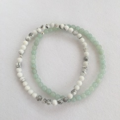 Howlite and Amazonite stacking bracelets