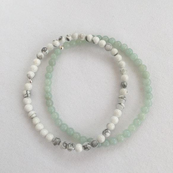 Howlite and Amazonite stacking bracelets