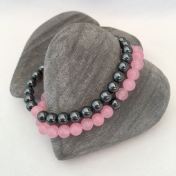Hematite and Rose Quartz couple's bracelets