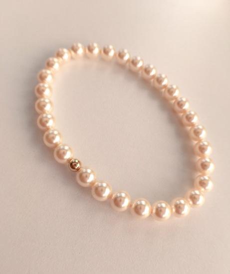 Cream Rose Swarovski pearl bracelet with 9ct Gold bead