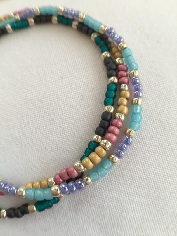 Colourful seed bead bracelets