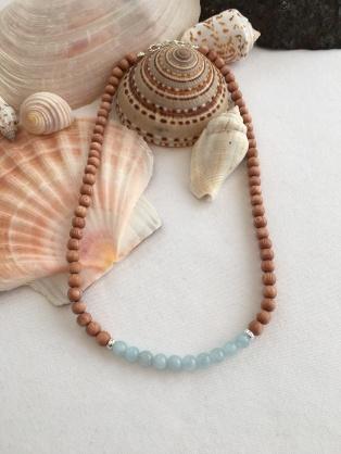 Rosewood and Aquamarine necklace.
