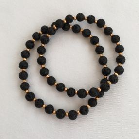Lava bracelets with gold seed beads