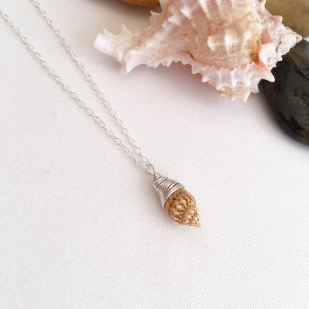 Tiny wire wrapped shell necklace.