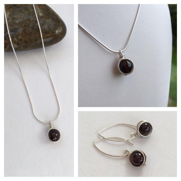Garnet jewellery with Sterling silver for January birthdays.