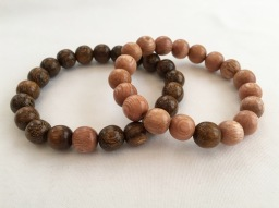 Chunky wooden couple's bracelets with Rosewood and Robles wood.