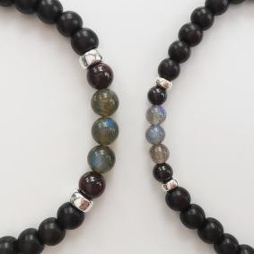 Custom order with Tiger ebony, Garnet and Labradorite