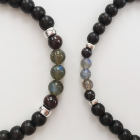 Custom order with Tiger ebony, Garnet and Labradorite