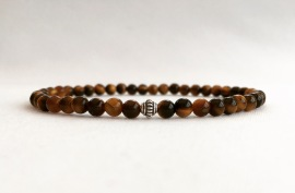 Tigers eye bracelet with Bali silver focal bead