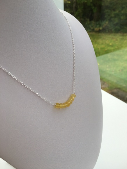 Yellow Opal necklace with Sterling silver.