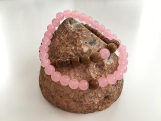 Rose Quartz and Robles wood couple's bracelets.