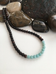 Tiger ebony and Amazonite necklace.