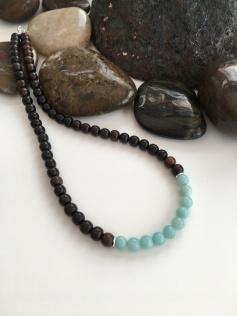 Tiger ebony and Amazonite necklace.