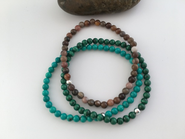Custom stack with Turquoise, Malachite and Petrified wood