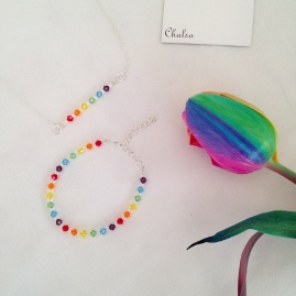Rainbow jewellery with Swarovski crystal rainbows.