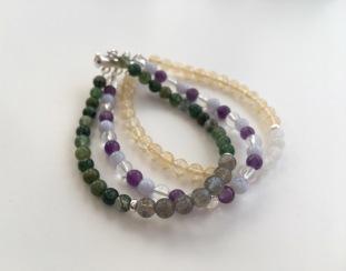 Custom order multi-strand semi precious bracelet