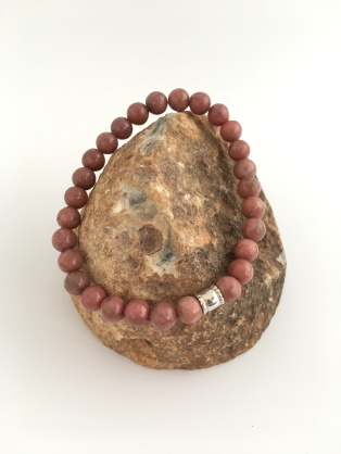 Rhodonite bracelet with Sterling silver barrel bead