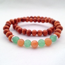 Bayong wood bracelets with red and green Aventurine