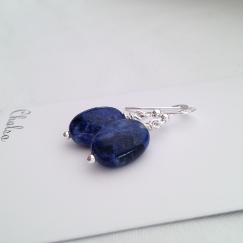 Flat oval Sodalite and Sterling silver earrings.