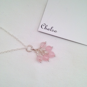 Rose Quartz cluster necklace.