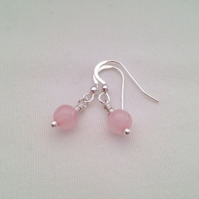 Rose Quartz earrings with Sterling silver. Matching necklace available.