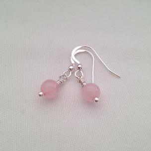 Rose Quartz earrings with Sterling silver.