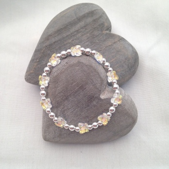 Sterling silver bracelet with Swarovski crystal butterflies