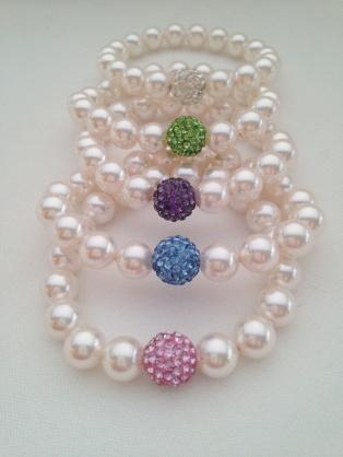 Swarovski pearl Glitter ball bracelets