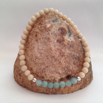 Fossil Jasper and Amazonite bracelet with Sterling silver