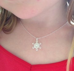 Sterling silver snowflake necklace.