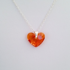 Astral pink Swarovski heart pendant on a Sterling silver chain.