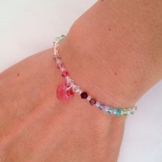 Delicate Swarovski crystal pastel rainbow bracelet