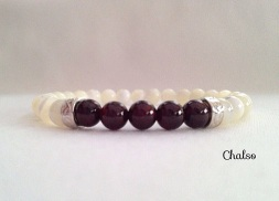 Mother of Pearl and Garnet bracelet with Sterling silver scroll work spacers