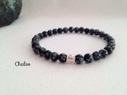 Snowflake Obsidian bracelet with Sterling silver barrel bead