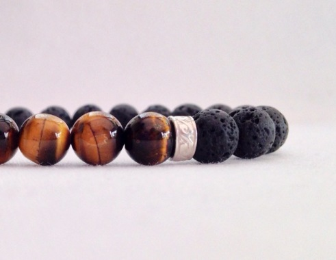 Lava and Tigers eye bracelet with Sterling silver scroll work spacers