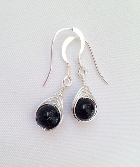 Blue Goldstone earrings with Sterling silver. I love Blue Goldstone, it reminds me of a starry night! Matching necklace available on request.