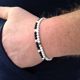 Black Agate and Howlite men's stacking bracelets.